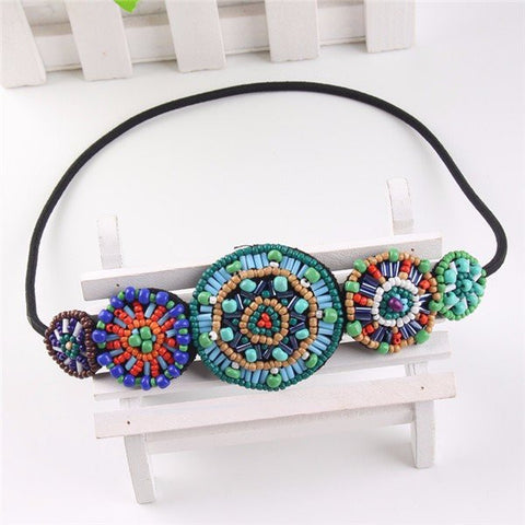 Boho Handmade Multicolor Beaded Round Shape Stretch Elastic Headband Hair Band - shechoic.com