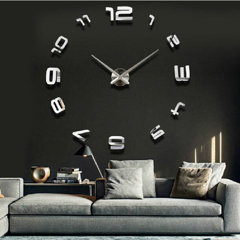 3D Large Sliver Modern DIY Home Decor Mirror Wall Clock Sticker - shechoic.com