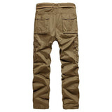 Men's Casual Solid Color Multi-pocket Cotton Cargo Pants