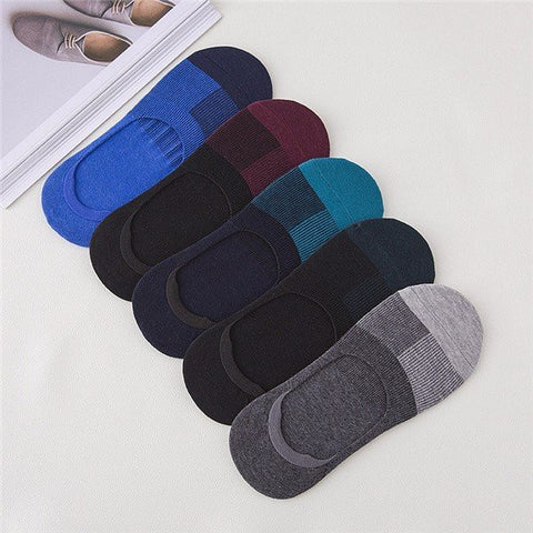 5 Pair Men Women Invisible No Show Nonslip Loafer Boat Ankle Low Cut Cotton Socks - shechoic.com