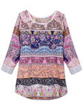 Women Casual Floral Printed Three Quarter Sleeve Chiffon Blouse