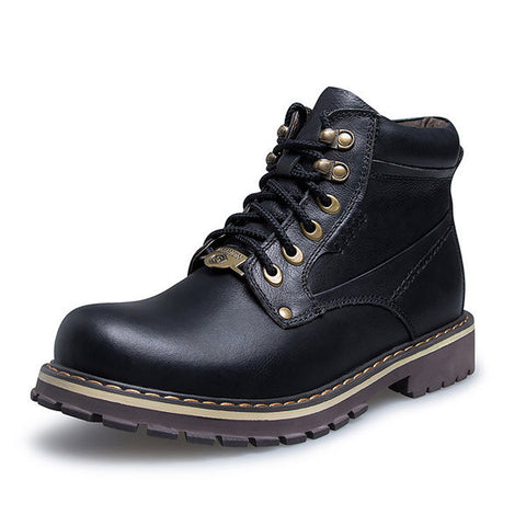 Big Size Men Leather Button Metal Lace Up High Top Martin Boots