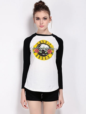 Casual Women Roses Printed Contract Color Long Sleeved O Neck T-shirt