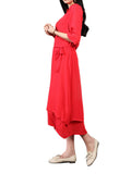 Women Short Sleeve Stand Collar False Two Pieces Pure Color Vintage Dress