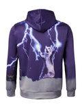 Men's 3D Cat Lightning Printed Front Pocket Drawstring Hooded Couple's Long-sleeved Loose Fit Hoodies