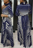Blue-White Striped Print Sashes 3/4 Sleeve Deep V-neck High Waisted Bohemian Maxi Dress