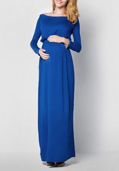 Blue Draped Off Shoulder Backless Maternity Photoshoot Elegant Maxi Dress