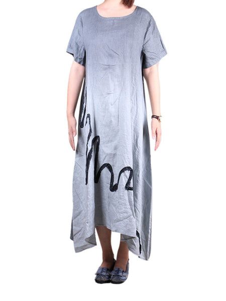Women Contrast Color Patchwork O-Neck Cotton Linen Dress