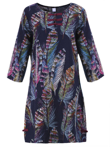 Casual Feather Printed Long Sleeve Dress For Women