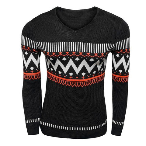 Men's Stripe Wave Printing Sweaters V-neck Sweater Fashion Slim Pullovers