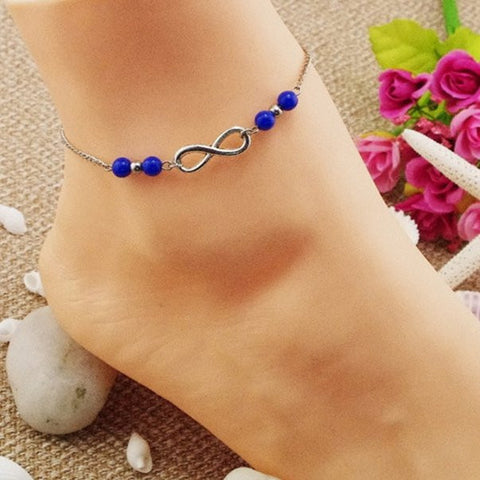 Silver Lucky Number 8 Infinity Anklet