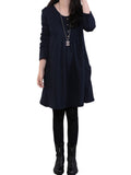 Pocket Button Casual Long Sleeve Loose Solid O Neck Midi Dress