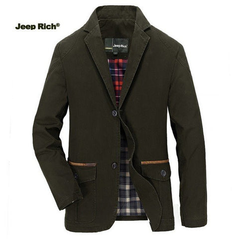 JEEP RICH Men's Spring Fall Casual Business Cotton Blend Jacket Coat