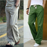 Men's Cotton Linen String Sweatpants Solid Color Comfortable Loose Leisure Wear Breathable Pants