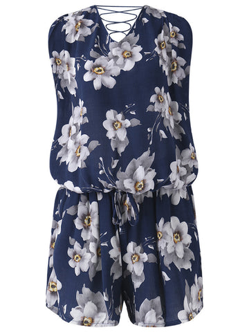 Women Casual Floral Print Loose Bandage Cross Strap V-neck Sleeveless Suit