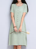Vintage Women Chinese Frog Solid Short Sleeve Knee-Length Cotton Linen Dress