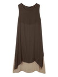 Vintage Women Sleeveless Two Layers Patchwork Solid Split Maxi Dress