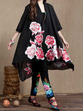 Folk Style Flower Embroidery High Low Chiffon Cardigan For Women