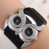 PU Leather Owl Double Movement Watch