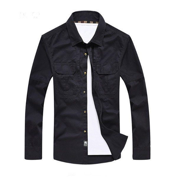 Men's Spring Fall Fashion Solid Color Pure Cotton Plus Size Casual Shirt