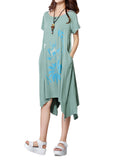 Women Flower Printed Bow Belt High Low Linen Cotton Dress