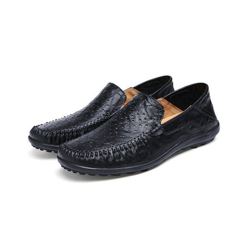 Big Size Men Leather Slip On Hollow Out Casual Driving Shoes