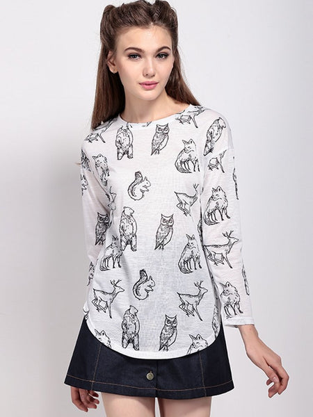 Autumn Casual Women O-neck Animal Print Slim Three Quarter Sleeve T-shirt - shechoic.com