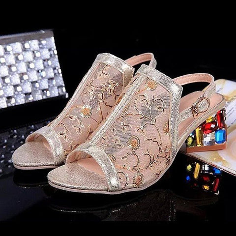 Beaded Lace Buckle Leaf Peep Toe Slip On Square Heel Sandals Slippers
