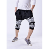 Mens Hip Hop Skull Printing Harem Pants Half Sweatpants Casual Baggy Sports Trousers
