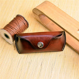 Genuine Leather Durable Vintage Glasses Bags Portable Bag