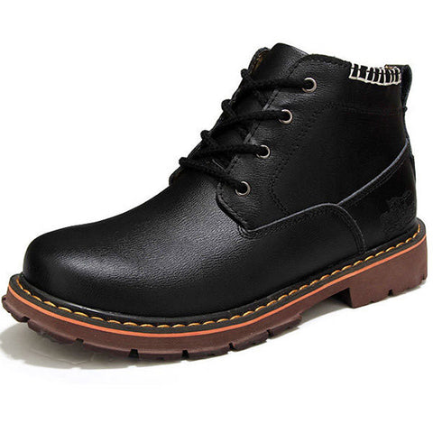 Men Pure Color Leather Ankle Lace Up British Style Martin Boots