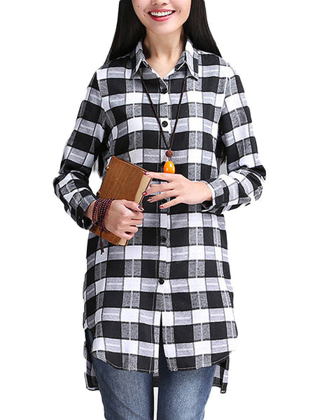 Women Long Sleeve Lapel Plaid Button Irregular Split Blouse