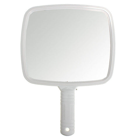 White Professional Square Makeup Vanity Mirror Handheld Hair Salon Barber Tool
