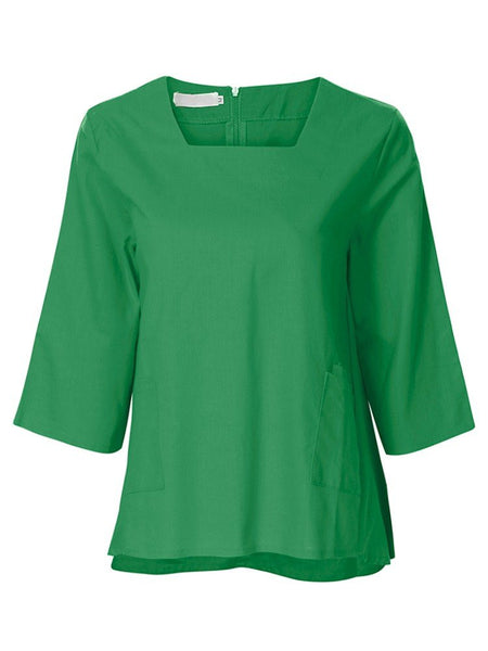 Vintage Half Sleeve Square Neck Pure Color Shirts For Women
