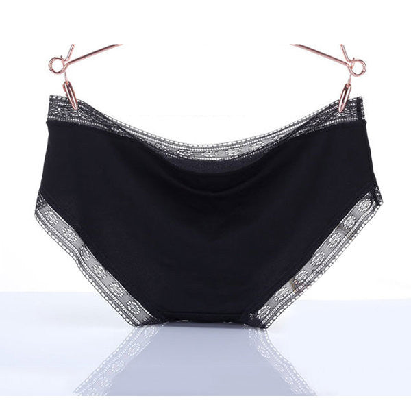 Sexy Seamless Breathable Lace Hem Briefs Low Waist Panties For Women