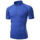 Mens Elastic Stand Collar Quick Dry Short Sleeve Sports Cycling T-shirts