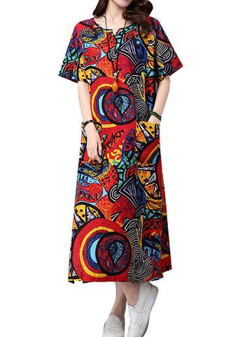 Ethnic Chinese Style Women Geometric Printed Pockets Split Mid-Calf Notched Collar Linen Dress
