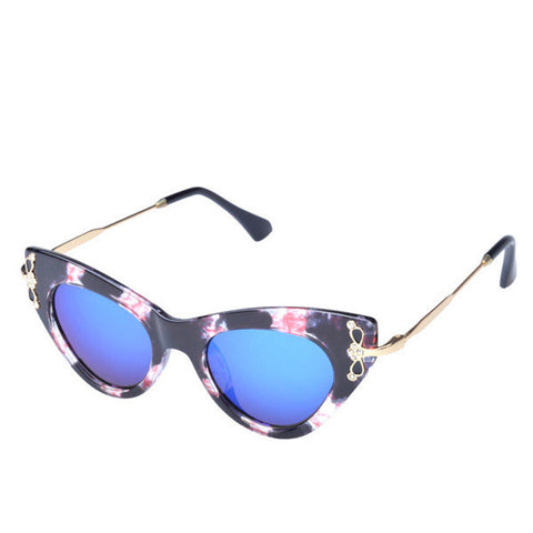 Women Cat-eye Full Frame UV Protection Sunglasses Diamond Decoration Eyewear