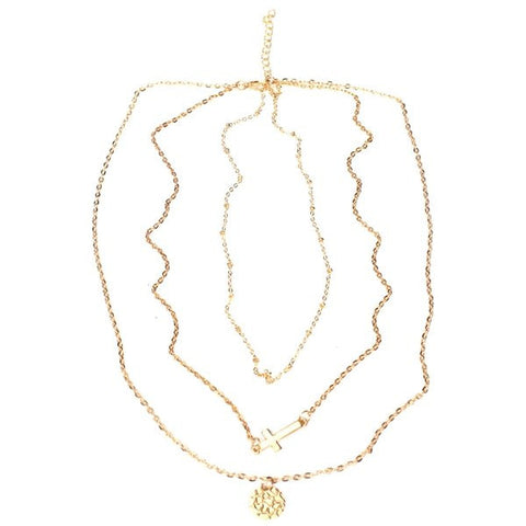 Gold Cross Rounded Sequin 3 Layers Necklace