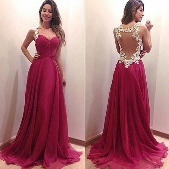 Rose Red Patchwork Lace Backless V-neck Sexy Maxi Dress