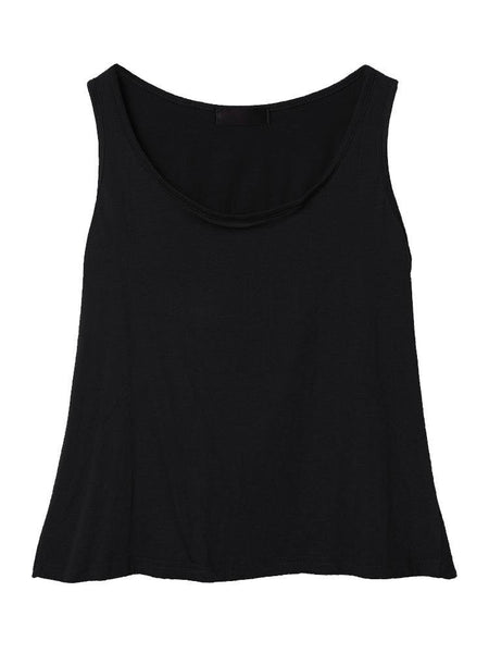 Women Sleeveless O Neck Back Hollow Pure Color Tank Top