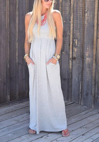 Grey Pockets Round Neck Casual Going out Maxi Dress