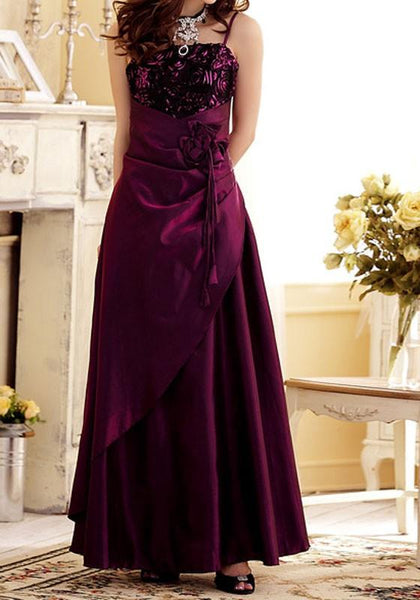 Purple Patchwork Condole Belt Irregular Sashes Boat Neck Sleeveless Elegant Maxi Dress
