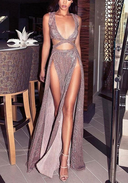 Pink Plain Cut Out Sequin Plunging Neckline Fashion Maxi Dress