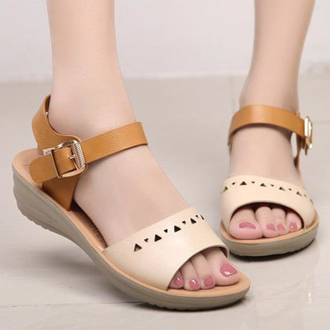 Artificial Leather Color Match Soft Hollow Out Buckle Wedge Heel Sandals