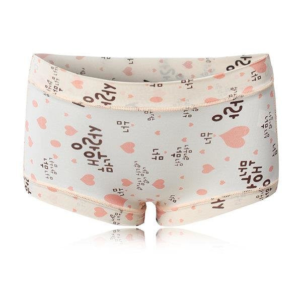 L-XL Women Cosy Ice Silk Printed Panties Seamless Soft Mid Waist Underwear