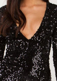 Black Sequin Patchwork Zipper Side Slit Long Sleeve Fashion Maxi Dress