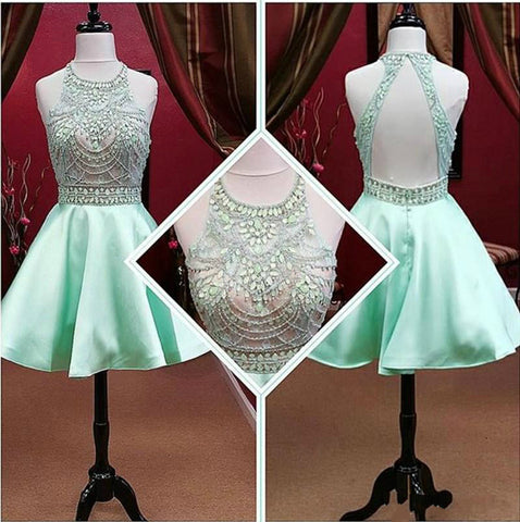 Prom Dresses With Crystal Beads Jewel Neck Open Back Party Dress Gowns