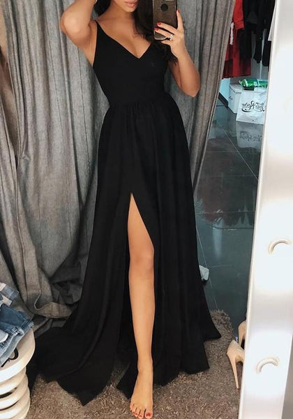 Black Spaghetti Strap Cut Out Side Slit Flowy V-neck Elegant Party Maxi Dress