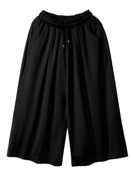 Loose Women Drawstring Baggy Pockets Ruffles Athleisure Wide Leg Pants